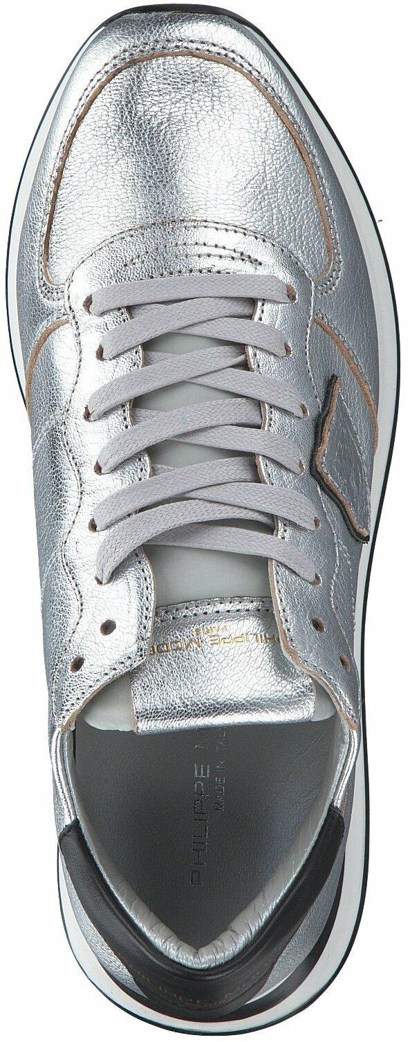 Silberner Damen Sneaker aus Leder von Philippe Model 788077